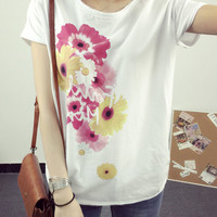 Short-Sleeved T-Shirt Printed with Flowers