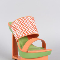 Shoe Republic Two Tone Raffia Cutout Platform Wedge Color: Orange, Size: 7