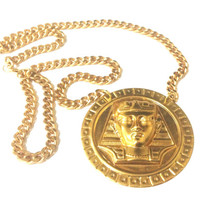 Gold Pharaoh Necklace // Gold Chain // Versace Inspired