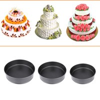 3pcs/set Pans Bake Cake Baking Mold Non-stick Coating Cake Mould with Removable Bottom Round Decorating Tool Kitchen Accessory