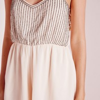 Missguided - Strappy Embellished Romper Nude