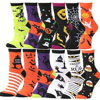 12 Pair,Happy Halloween Socks, 12 Different Designs, Halloween Gift,Women Or Kids Size