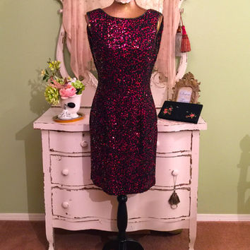 Sequin Beaded Open Back Dress, Art Deco Style Dress, Oleg Cassini Black Tie, Draped Pink Red, Special Occasion, High Fashion Dress, Medium