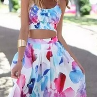 Upper West Side White Blue Pink Purple Floral Spaghetti Strap Scoop Neck Crop Pleated A Line Flare Midi Two Piece Dress