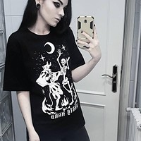 Goth Dark Black Gothic Vintage Punk Grunge Women T-shirts Harajuku Aesthetic Winter 2019 Chic  Female T-shirt Bone Print Black