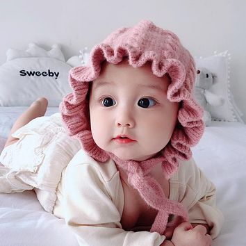 Baby Hat Autumn And Winter Female Baby Woolen Hat Princess Hat 3 Months To 3 Years Old Children's Ear Protection Girls Knitted Hat
