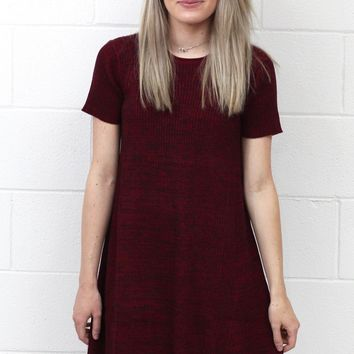 Swinging into Fall Ribbed Sweater Dress {Burgundy}