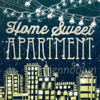 Home Sweet Apartment - apartment decor college apartment string lights city print 8 x 10 PRINT teal yellow typography poster