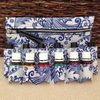 NEW! Essential Oils Travel Bag - Cosmetics Case - blue & white paisley - silver zipper