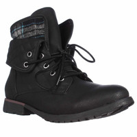 Rock & Candy Spraypaint Foldover Ankle Boots - Black Blue