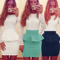 New Summer Sexy Women Bandage Bodycon Dress Fashion Lace Patchwork Peplum Waist Long Sleeve Evening Party Mini Dress = 1956877828