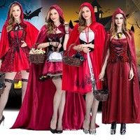 Women Fairy Tales Little Red Riding Hood Costume Red Cap Cloak Adult Anime Cosplay Cape Clothing  Halloween Purim Party Dress