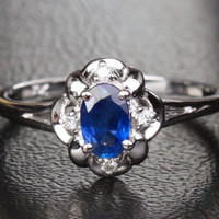 Oval Sapphire Engagement ring Diamond 10k White gold  Flower .62CT