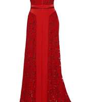 J Mendel - Paneled lace and crepe gown