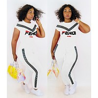 FENDI New Popular Women Casual Print Shorts Sleeve Top Pants Set Two Piece White