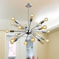 Modern Metal Large Chandelier with 18 Lights Chrome Or Black Finish