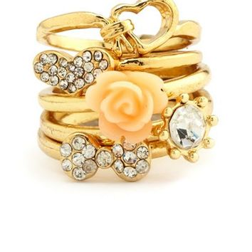 Knotted Heart Stackable Ring Set: Charlotte Russe
