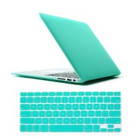 """IC ICLOVER Laptop Rubberized Hard Turquoise See Through Frosted Matte Coated Snap On Case for Apple 11.6"""" Macbook Air 11 inch+TPU Protective Keyboard Skin Cover+Clear LCD Screen Protector Blue"""