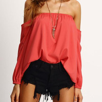 Red Long Sleeve Irregular Strapless Shirt B0013613