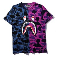 Shark Fashion Round Neck Camouflage Print Tee Top
