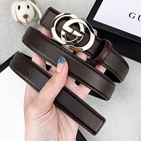 GUCCI New fashion GG letter buckle leather couple belt Coffee With Box