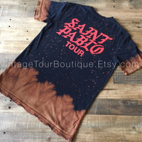 Saint Pablo Tour Bleached Tee Shirt Kanye West Distressed Yeezy Yeezus Tour Tee Merch TLOP Red Print