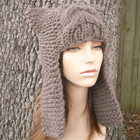 Hand Knit Hat The Dragon Slayer Ear Flap Hat in by pixiebell