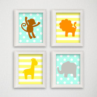 Jungle Nursery Art, Safari Nursery Decor, Kids Room Decor, Kids Wall Art, Baby Boy Nursery, Baby Girl Nursery, Polka Dots, Stripes, Elephant