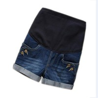 Maternity Clothes Denim Maternity Elastic Waist Pregnant Shorts Jeans for Pregnancy Fashion Belly Shorts