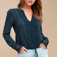 Bali Daydream Navy Blue Lace Long Sleeve Top