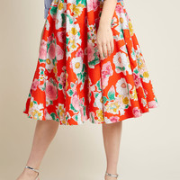 Hell Bunny Nostalgic Awe A-Line Skirt in Illustrated Floral