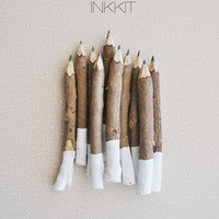 "white dip twig pencils - hand painted - 4"" (10 pencils)"
