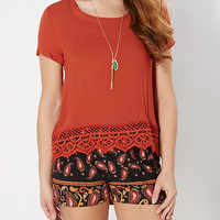Burnt Orange Gauze Crochet Trim Top