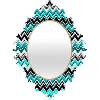 Madart Inc. Turquoise Black White Chevron Baroque Mirror