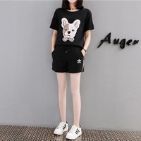 """Adidas"" Women Casual Cute Embroidery Cartoon Dog Head Multicolor Webbing Short Sleeve Shorts Set Two-Piece Sportswear"