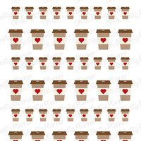 Heart Coffee Stickers for Your Planner (Assorted Sizes)