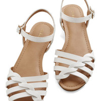 Bass Americana Come Out and Plait Sandal in White