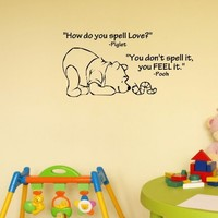 Newsee Decals How do you spell love. Winnie the Pooh.Vinyl wall art Inspirational quotes and saying home decor decal sticker