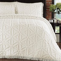 Full Size Cotton Chenille Bedspread with Flower of Life Pattern