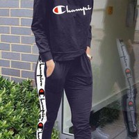 Champion tide brand female embroidery printed long-sleeved jacket sports suit two-piece blue