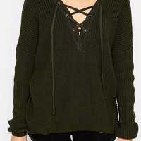 River Island Chunky Lace Up Jumper at asos.com
