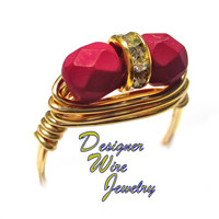 DWJ0548 Stunning Bold Fuchsia Czech Art Glass Duet Gold Plated Wire Wrap Ring Al