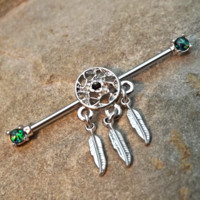 Dream Catcher Industrial Barbell Green Fire Opal Ends 14ga Body Jewelry Ear Jewelry Double Piercing Rhinestone