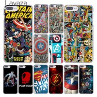 Lavaza The Avengers Marvel Deadpool Flash Captain America Clear Skin Case Cover for iPhone 10 X 8 7 6 6s Plus 5 5S SE 5C 4 4S
