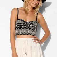 Ecote Embroidered Strapless Bustier Bra Top- Neutral
