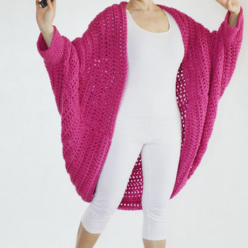 PLUS SIZE cocoon CARDIGAN · batwing chunky cardigan · oversized cocoon shrug · loose shawl sweater · chunky knit coat featured in hot pink