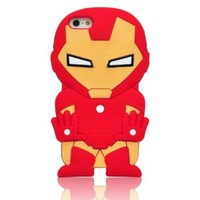 Oneshow the Avengers Series 3D Red Cool Iron Man Silicone Case Cover Design Compatible for Apple Iphone 5 5G 5S