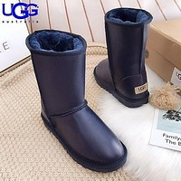 UGG Fashion Women Men Leather Shoes Boots Winter Half Boots Shoes-2