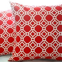 Decorative throw pillow cover, red and white lattice, geometric print toss pillow, accent pillow, toss pillow