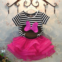 Baby Girls Outfit Striped T-shirt Tops Mini Skirt Tutu Dress Birthday Party Gift = 1946302020
